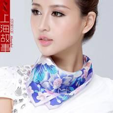 上海故事真丝素绉缎小方巾 女?#25112;?#32844;业领巾欧美风桑蚕丝方巾SHGS