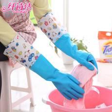 廚房家務洗碗洗衣服加長防水加絨加厚膠皮耐用乳膠橡膠手套