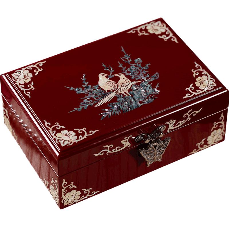 锦贝传说 情人节礼物螺钿漆器首饰盒木质红色珠宝饰品盒带化妆镜礼品盒装结婚生日情人节礼物 红色花迹