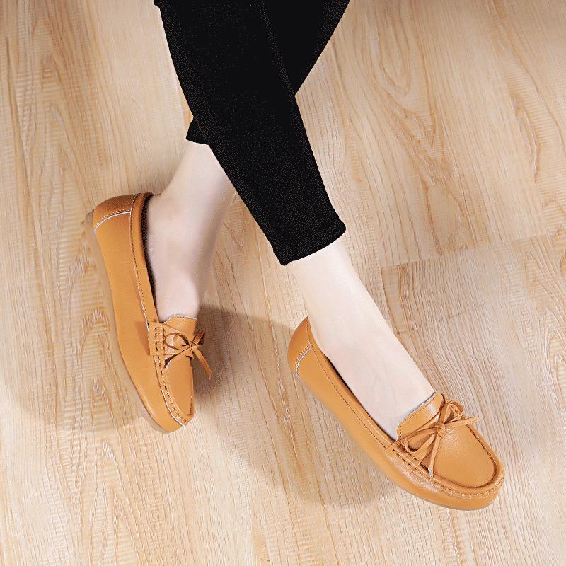E2U2020夏季新款豆豆鞋妈妈鞋牛筋软底女舒适平底单鞋孕妇中年真皮鞋997